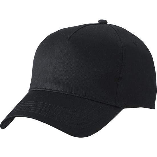 25x stuks 5-panel baseball petjes /caps in de kleur zwart