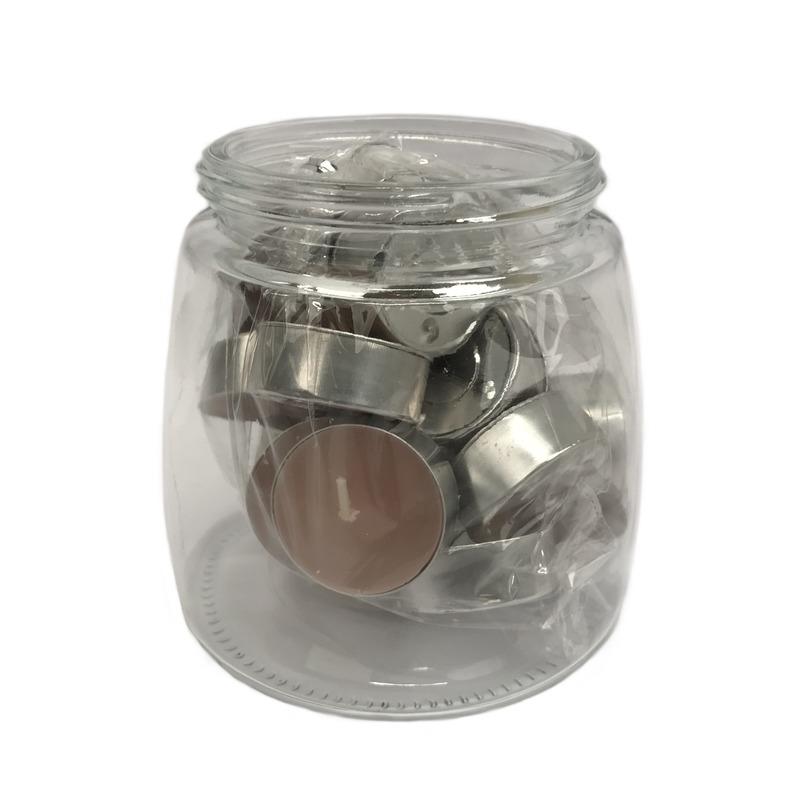 25x Waxinelichtjes/theelichtjes hout geur in pot