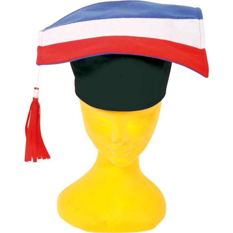 2x Afstudeerhoedjes/doctoraal geslaagd hoeden rood/wit/blauw