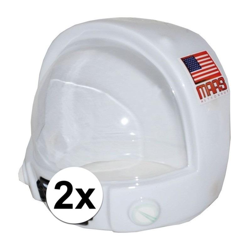 2x Astronauten helm voor kinderen van plastic