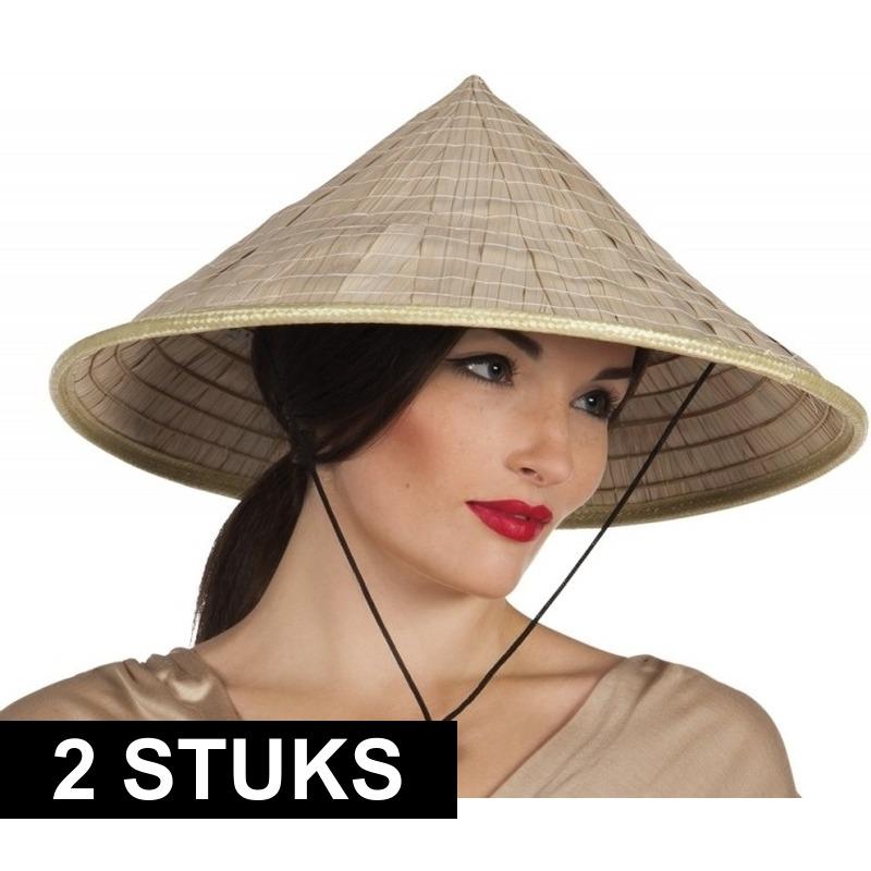 2x Aziatische hoeden verkleed accessoire Beige