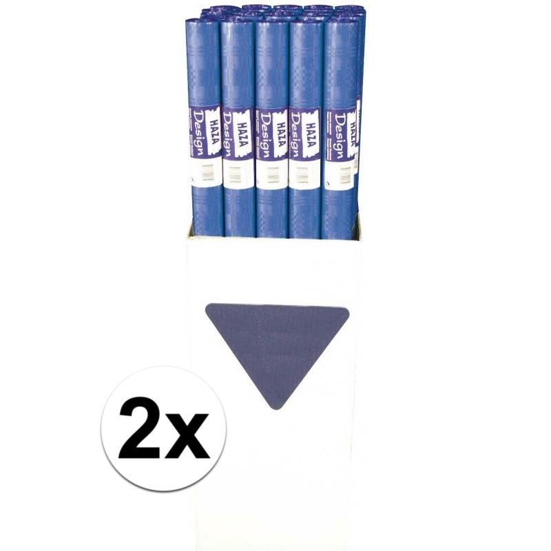 2x Blauw papieren tafelkleed op rol
