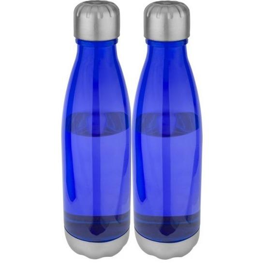 2x Blauwe drinkflessen/waterflessen 685 ml