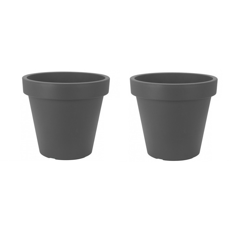 2x Bloempotten/plantenpotten grijs 30 cm