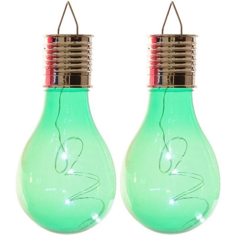 2x Buiten LED groene lampbolletjes solar verlichting 14 cm