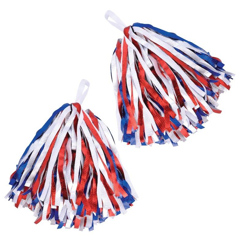 2x Cheerballs/Pom Poms in het rood/wit/blauw