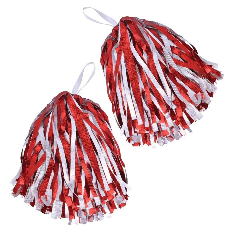 2x Cheerballs/Pom Poms in het rood/wit