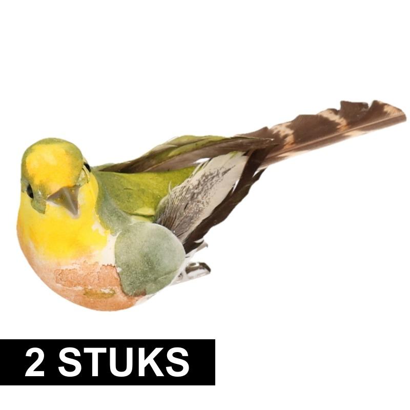2x Decoratie gekleurde vogels op clip 9 cm