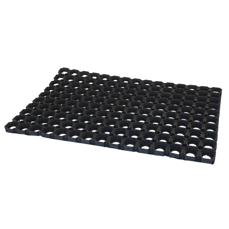 2x Deurmatten-buitenmatten rubber zwart 60 x 40 x 2.3 cm