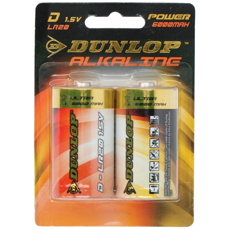 2x Dunlop alkaline batterijen LR20 D