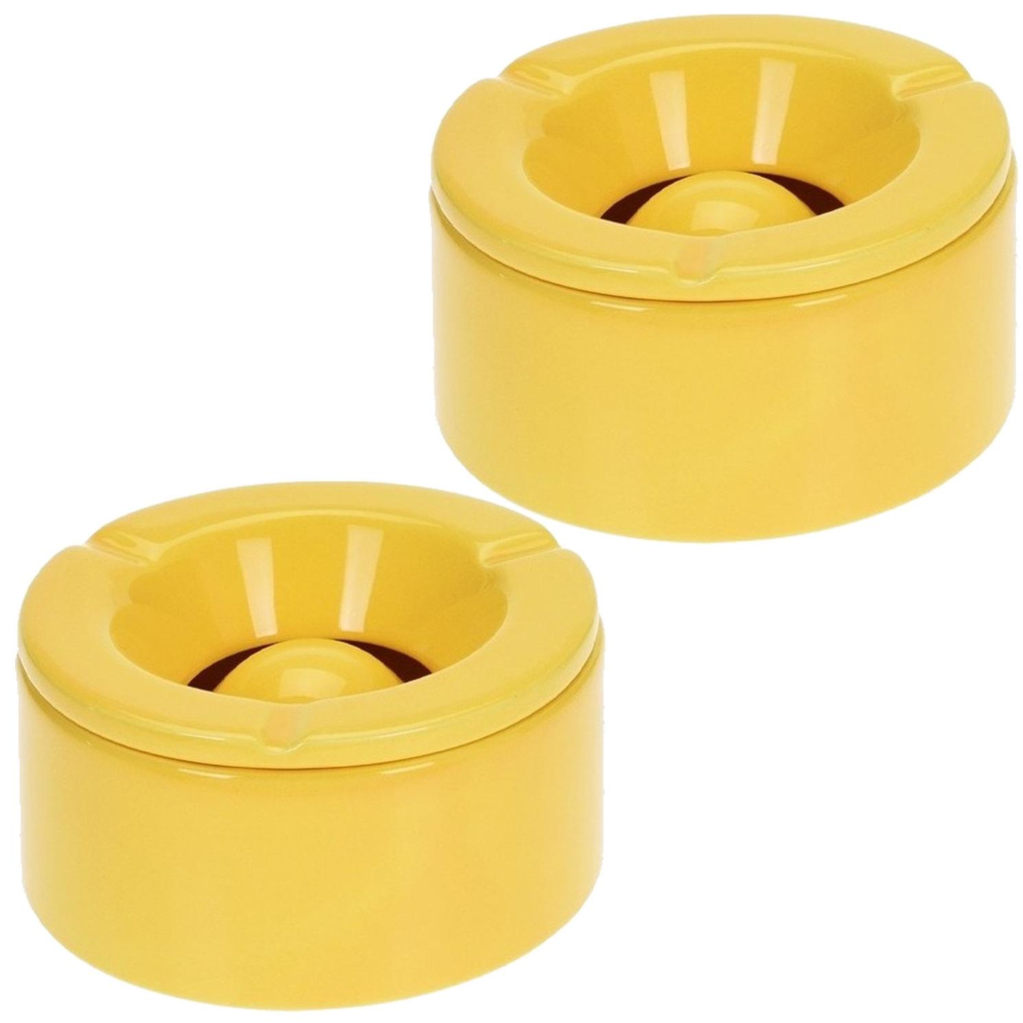 2x Gele storm/terras asbakken 14 cm