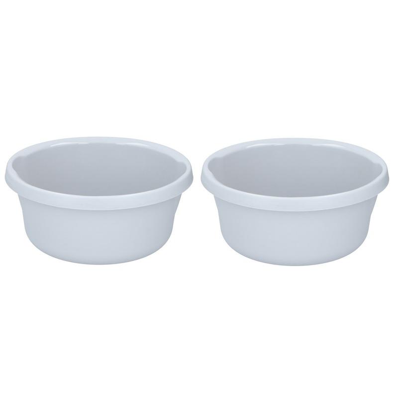 2x Grijze afwasteil/afwasbak rond 6 liter