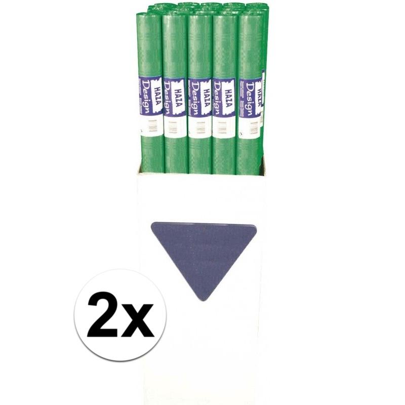 2x Groen papieren tafelkleed op rol