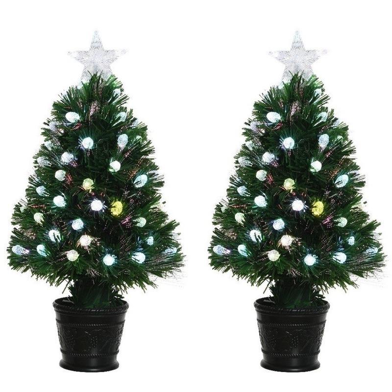 2x Groene glasvezel kunstkerstbomen 90 cm met LED lampjes