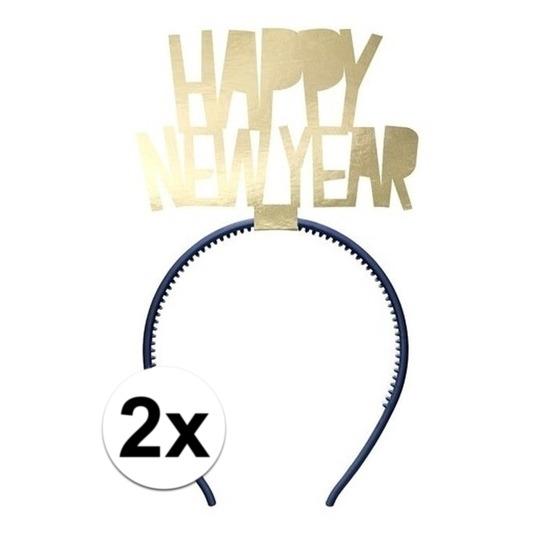 2x Happy New Year diademen voor dames oud en nieuw/nieuwjaar