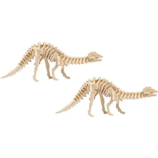 2x Houten bouwpakket Apatosaurus dinosaurus Bruin