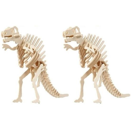 2x Houten bouwpakket Spinosaurus dinosaurus Bruin
