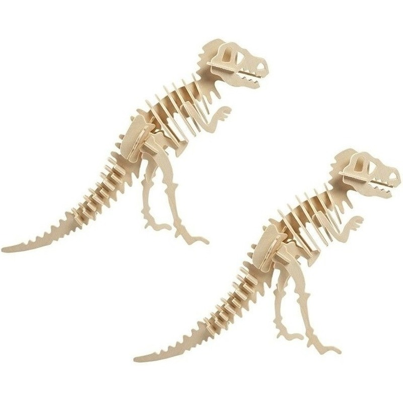 2x Houten bouwpakket Tyrannosaurus dinosaurus Bruin