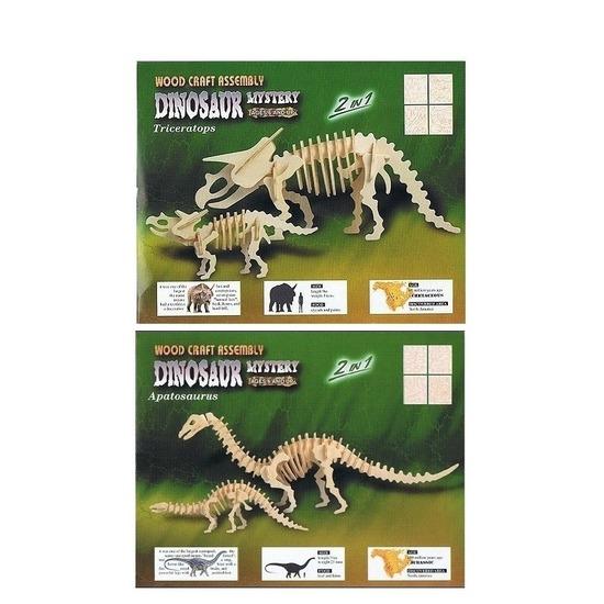 2x Houten bouwpakket van 2x een Triceratops en 2x Apatosaurus