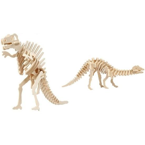 2x Houten bouwpakketten Spinosaurus en Apatosaurus dinosaurus - 3D puzzels