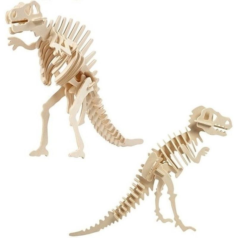 2x Houten bouwpakketten Spinosaurus en Tyrannosaurus dinosaurus Bruin