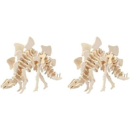 2x Houten bouwpakketten Stegosaurus dinosaurus Bruin