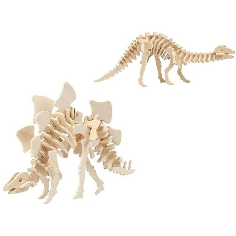 2x Houten bouwpakketten Stegosaurus en Apatosaurus dinosaurus Bruin