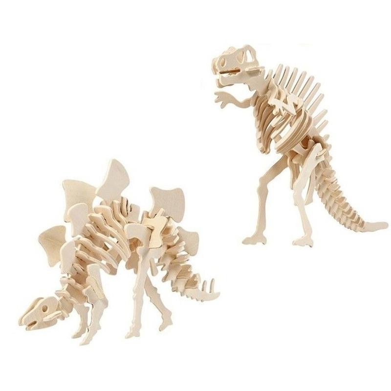 2x Houten bouwpakketten Stegosaurus en Spinosaurus dinosaurus Bruin