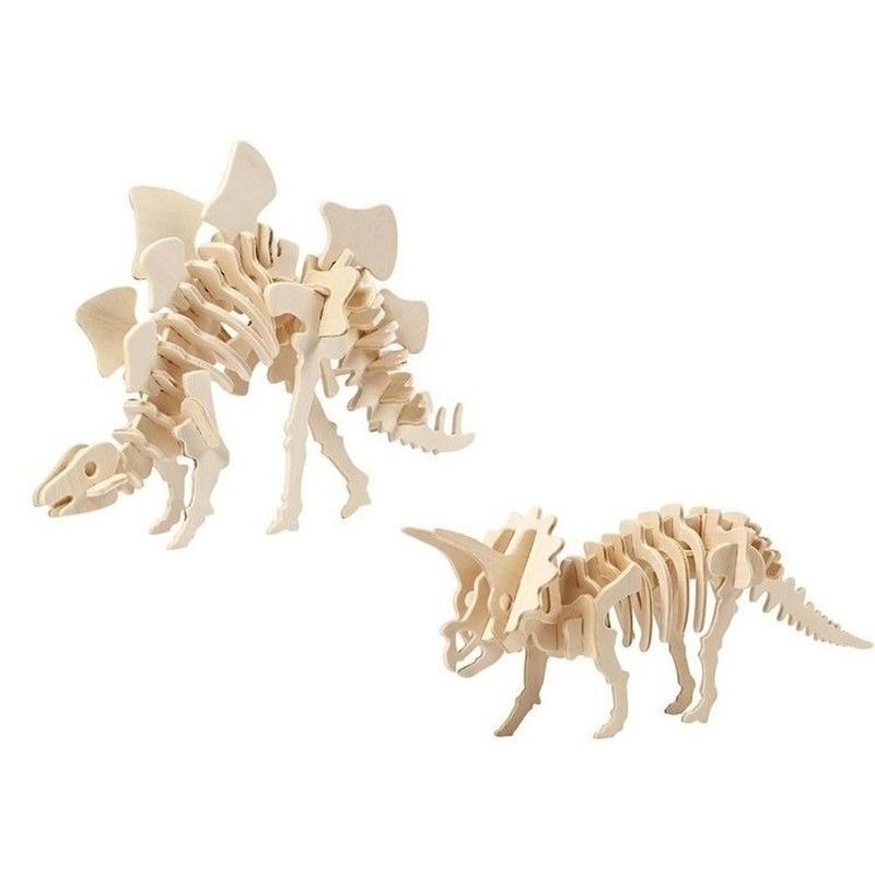 2x Houten bouwpakketten Stegosaurus en Triceratops dinosaurus Bruin