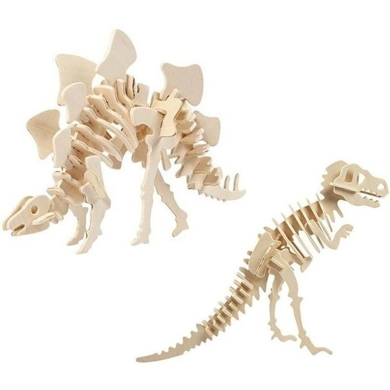 2x Houten bouwpakketten Stegosaurus en Tyrannosaurus dinosaurus Bruin