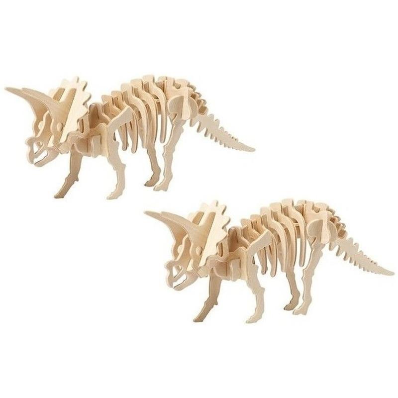 2x Houten bouwpakketten Triceratops dinosaurus Bruin