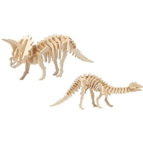 2x Houten bouwpakketten Triceratops en Apatosaurus dinosaurus Bruin