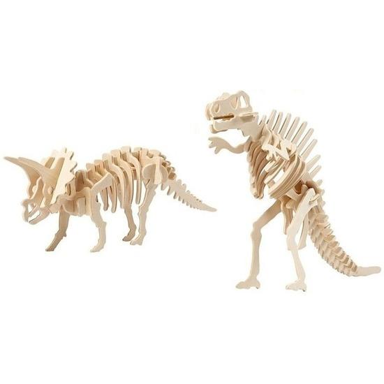 2x Houten bouwpakketten Triceratops en Spinosaurus dinosaurus Bruin