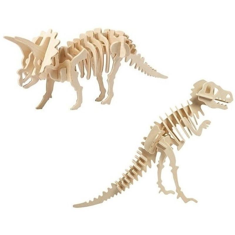 2x Houten bouwpakketten Triceratops en Tyrannosaurus dinosaurus Bruin