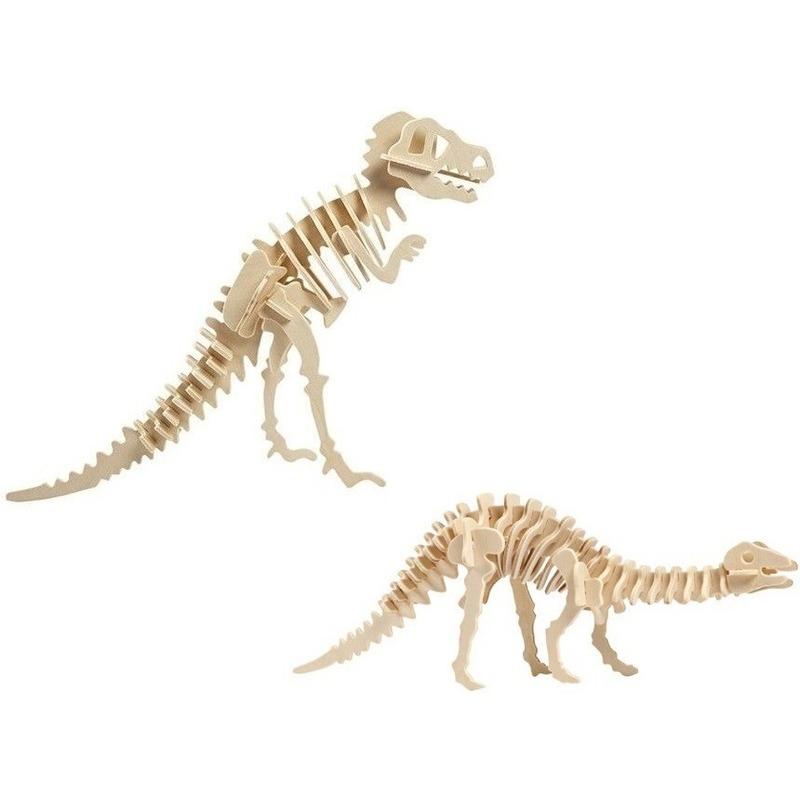 2x Houten bouwpakketten Tyrannosaurus en Apatosaurus dinosaurus Bruin