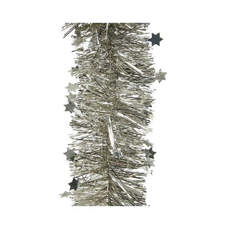 2x Kerst zilver folieslinger met sterren 270 cm