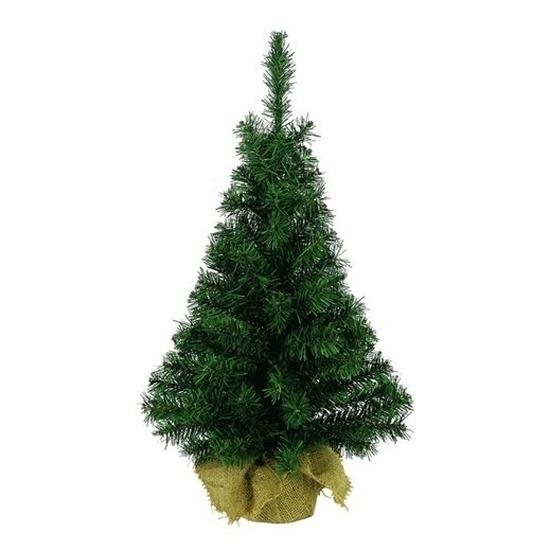 2x Kleine kerstboom in jute zak 75 cm