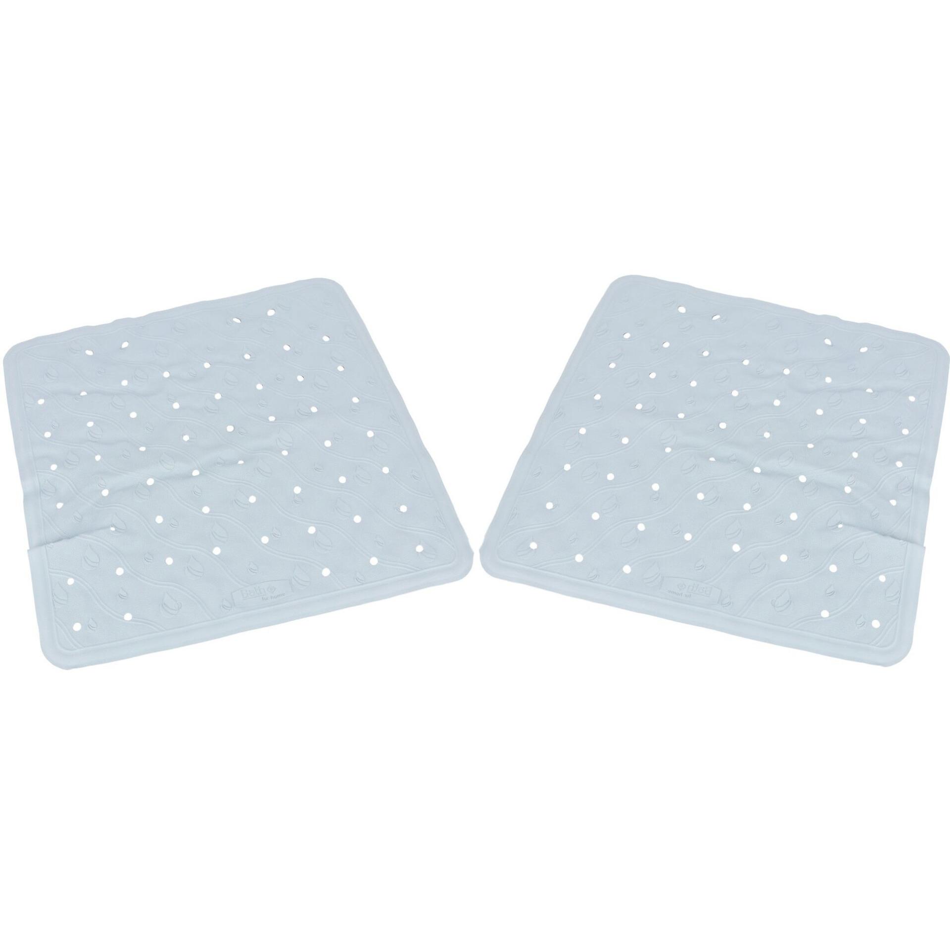 2x Lichtblauwe anti-slip badmatten-douchematten 54 x 54 cm vierkant