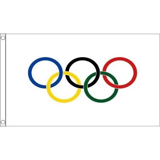 2x Olympische vlaggen 90 x 60 cm