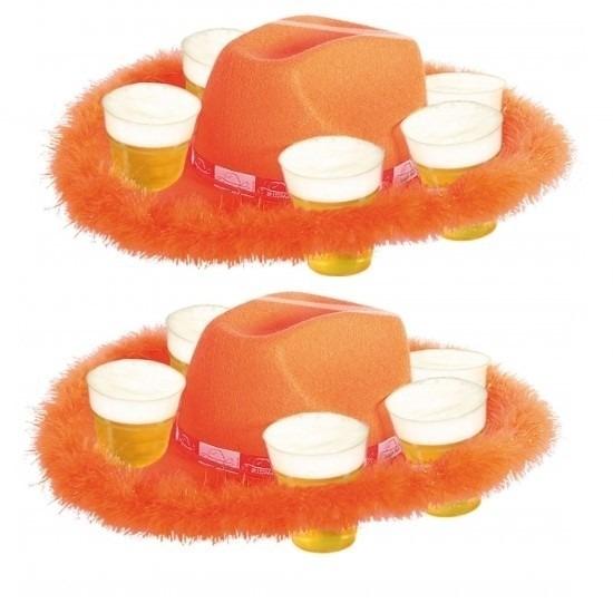 2x Oranje bier hoeden met bont