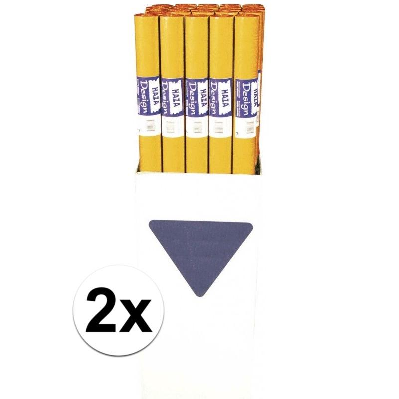 2x Oranje papieren tafelkleed op rol