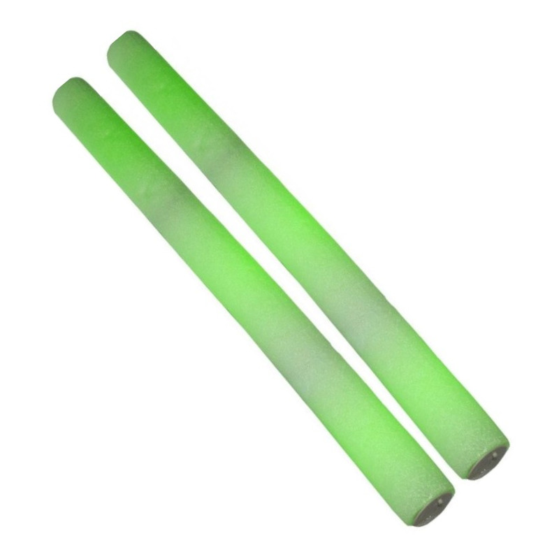 2x Partystaven met groen LED licht 48 cm
