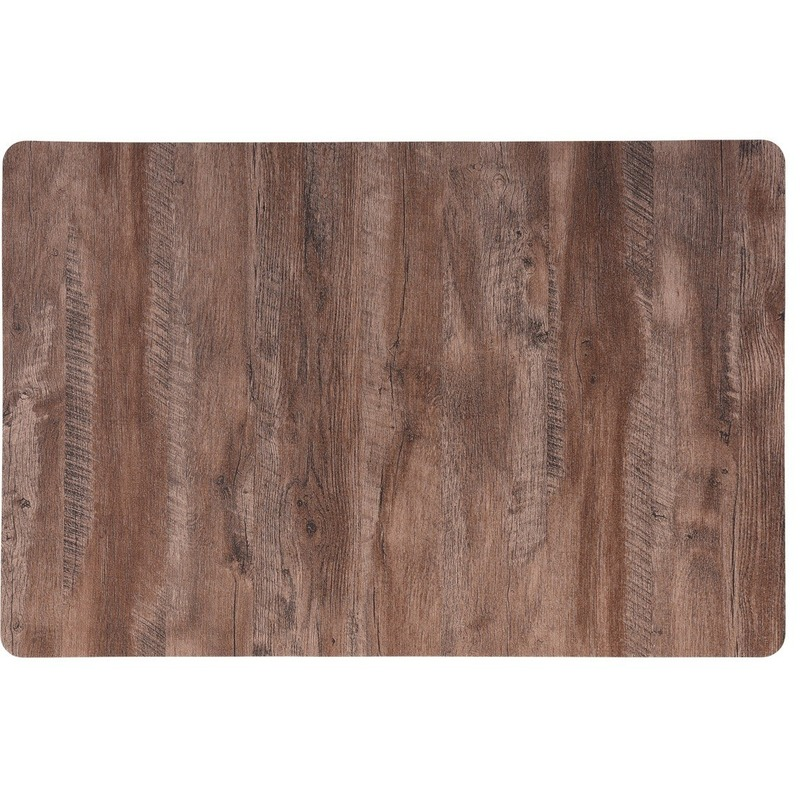 2x Placemat lichtbruin hout print 44 cm