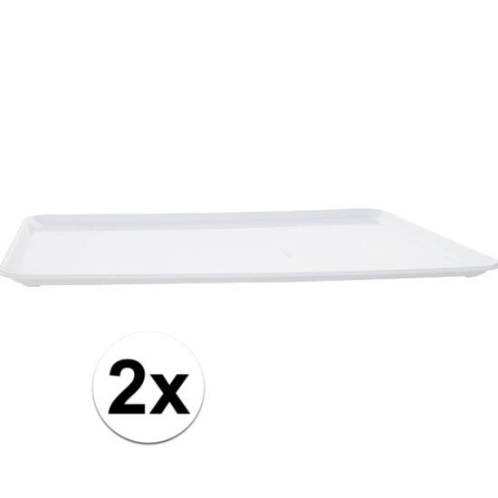 2x Plat dienblad wit kunststof 42 x 30 cm Wit