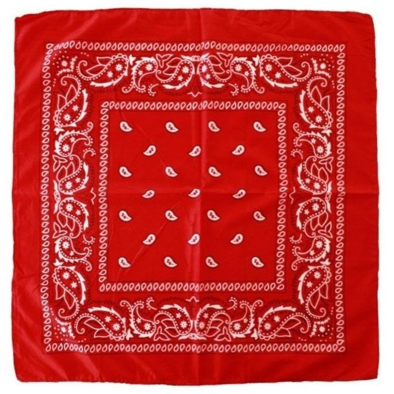 2x Rode boeren bandana zakdoeken