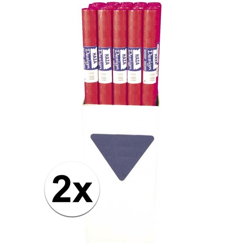 2x Rood papieren tafelkleed op rol