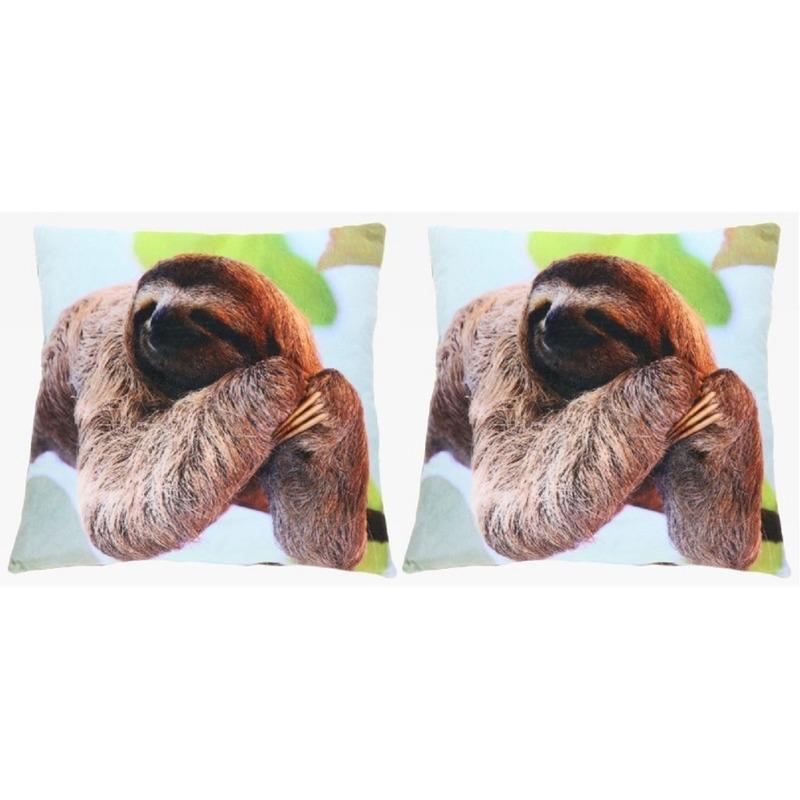 2x Sierkussens met luiaard dierenprint 35 cm