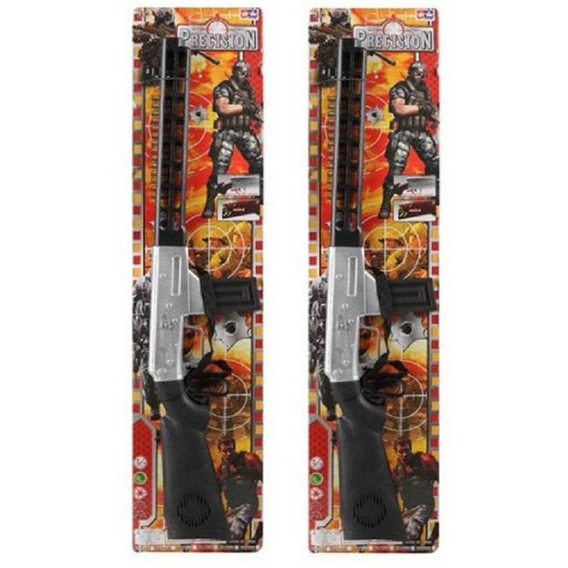 2x Soldaten speelgoed verkleed geweer zwart met geluid 76 cm