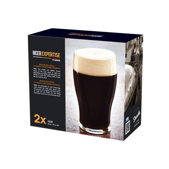 2x speciaal bierglazen voor donker en zware bieren 560 ml Transparant