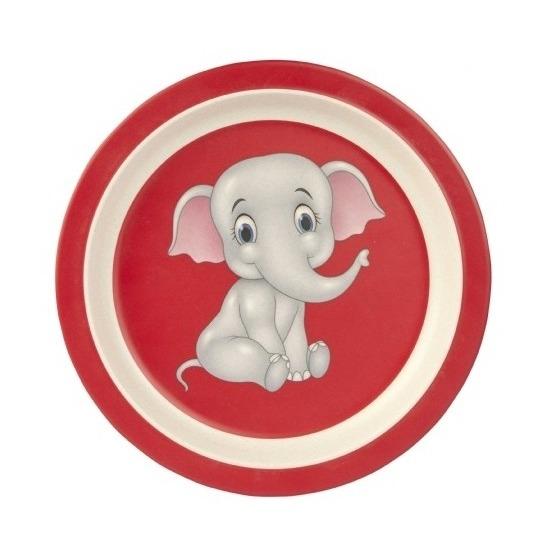 2x stuks Bamboe ontbijtborden olifant voor kinderen 21 cm